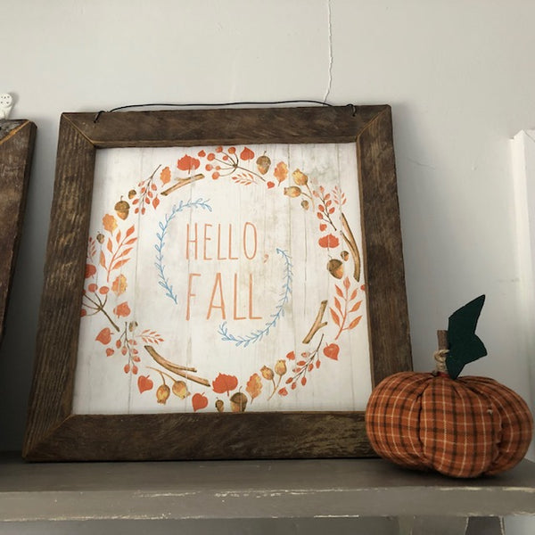 Hello Fall Framed Folk Art Print