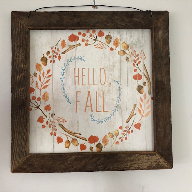 Hello Fall Framed Sign
