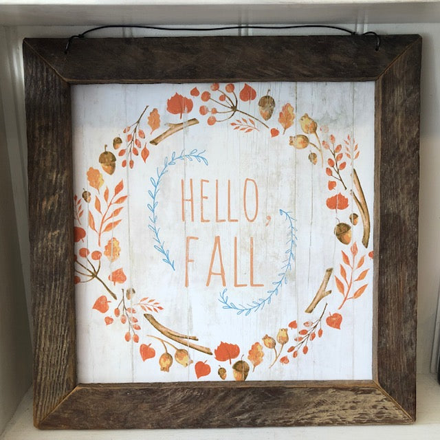 Hello Fall Box Framed Folk Art