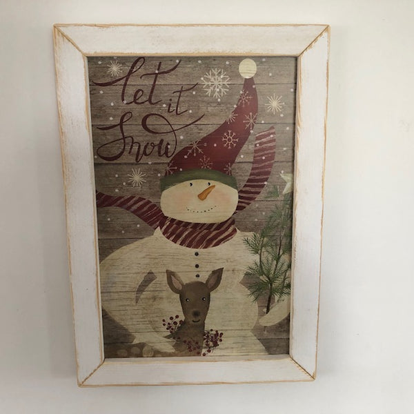 Let it Snow Framed Snowman Sign