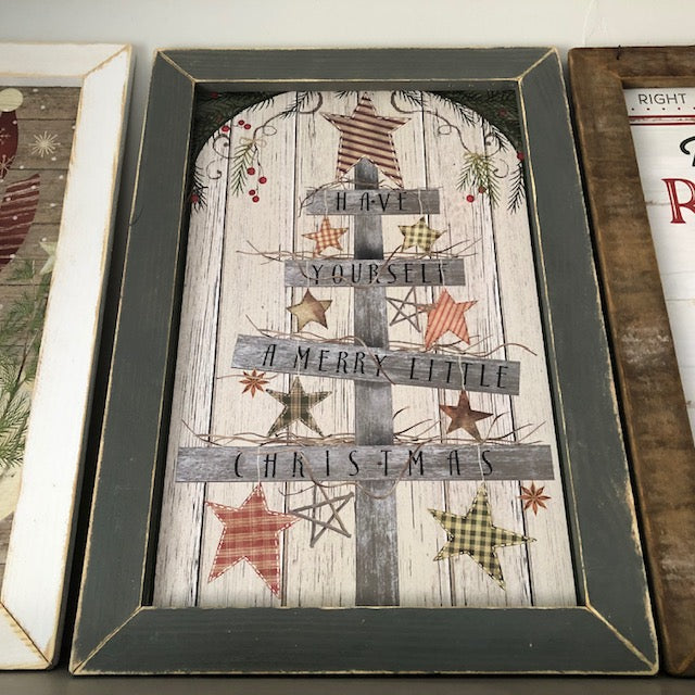 Country Christmas Tree Framed Sign