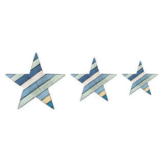 Set of 3 Painted Wooden Stars
