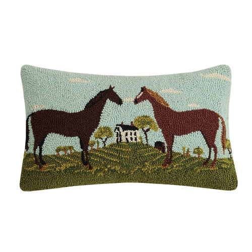 Warren Kimble Hooked Cushion with Horses