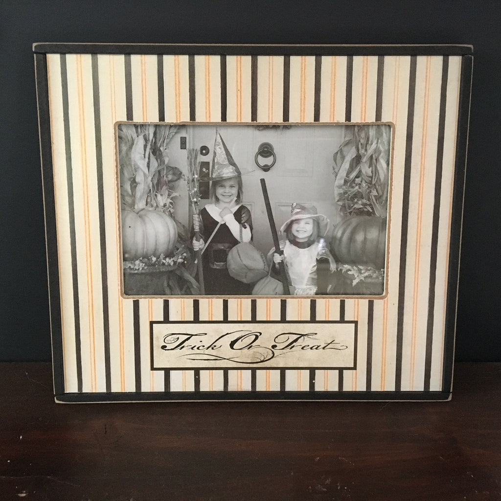 Trick or Treat Striped Picture Frame