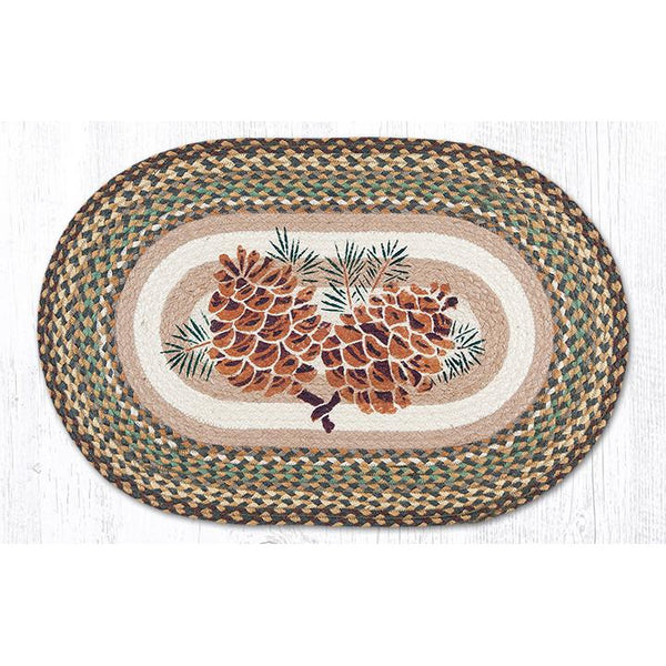 Jute Oval Rug with Large Pinecones