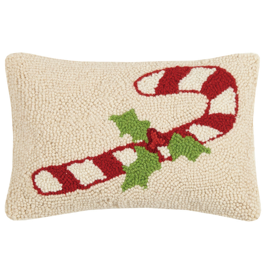 Hooked Cushion with Candy Cane