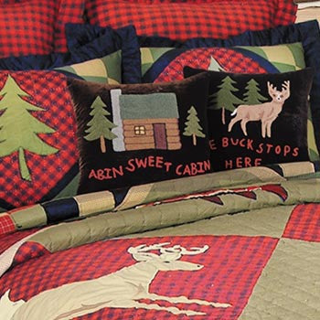 Lodge Animals Quilted Shams and Cushions