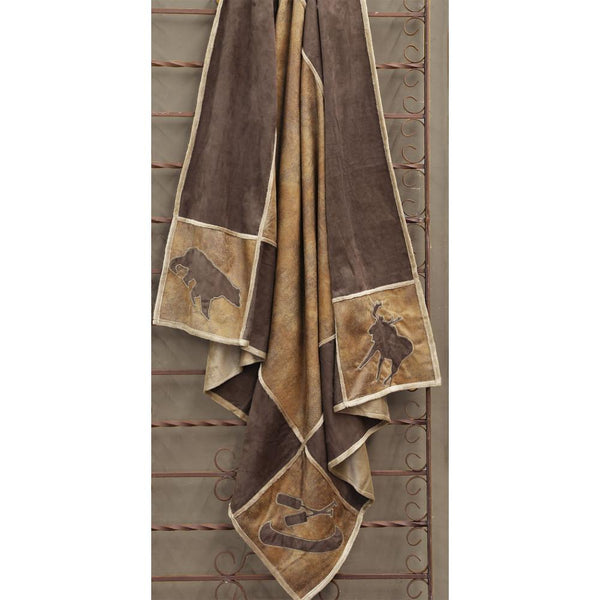 Lodge Grid Faux Suede Throw with Shearling Back
