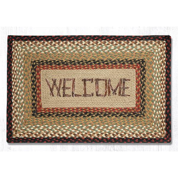 Log Cabin Welcome Braided Jute Rug