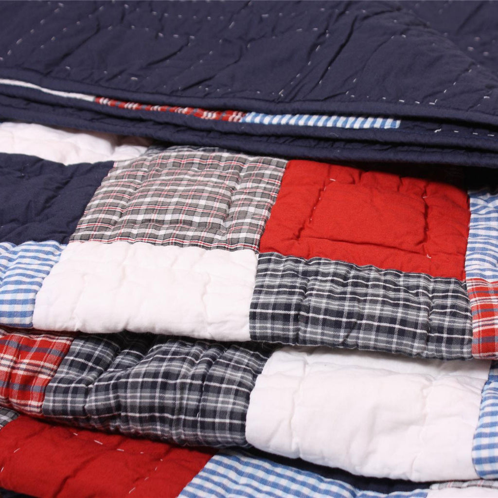 Red, White and Blue Patchwork Quilt Close up