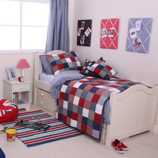 Red, White and Blue Patchwork Quilt