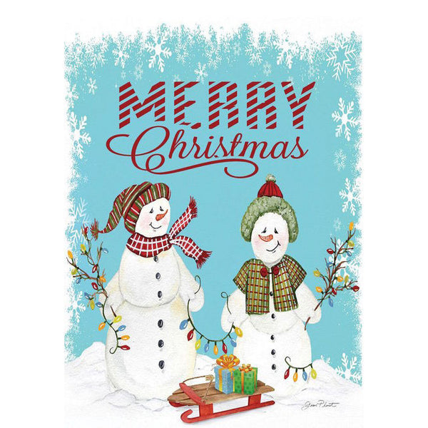 Merry Christmas Garden Flag with Snowmen