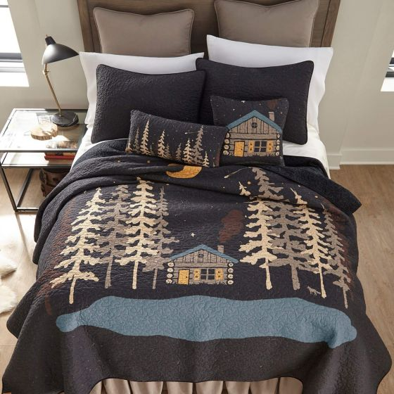 Moonlit Cabin Oblong Trees Cushion