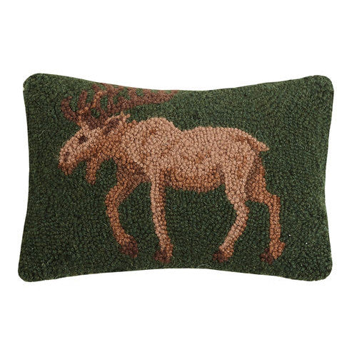 Green Hooked Cushion with Moose Design