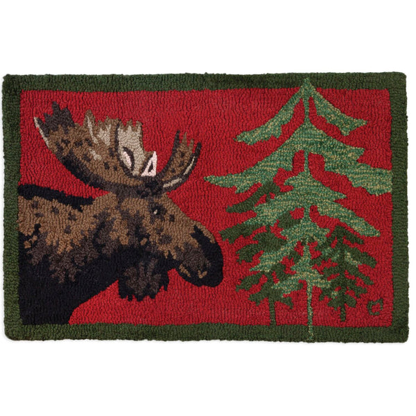 Moose in Pine Hooked Wool Rug UK