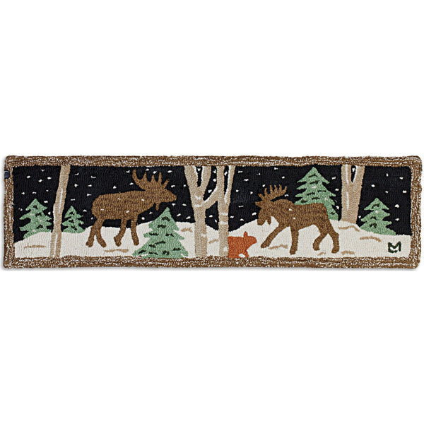 Moose Mural Hooked Hearth Rug