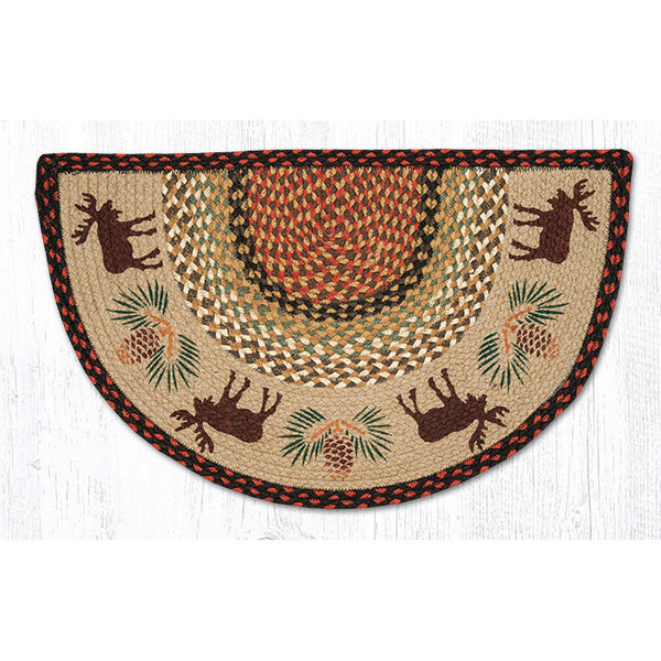 Moose and Pinecones Half Moon Jute Rug