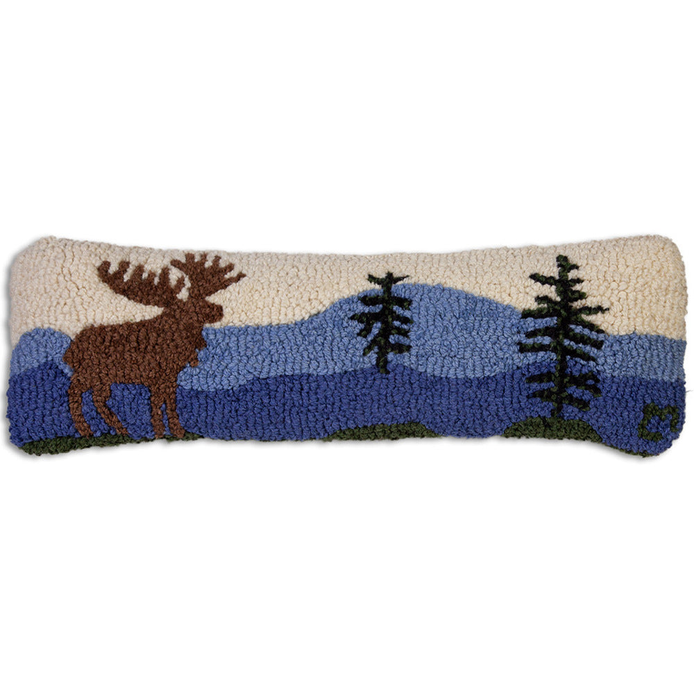 Moose in the Mountains Hooked Cushion UK
