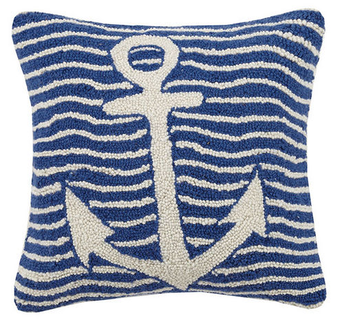 Waves and Anchor Navy Hooked Cushion