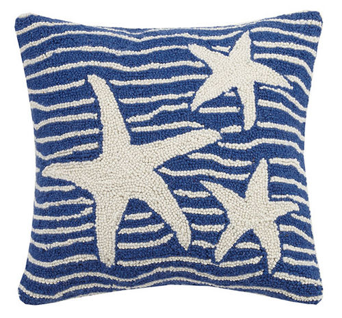 Waves and Starfish Hooked Navy Cushion