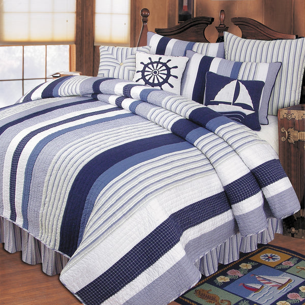 Nantucket Stripes Blue and White Quilted Bedspread