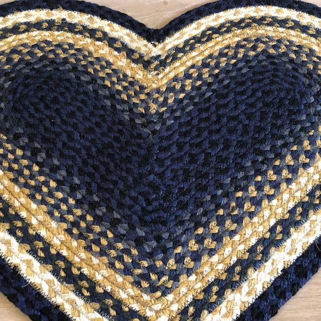 Denim Blue and Tan Heart Shaped Rug