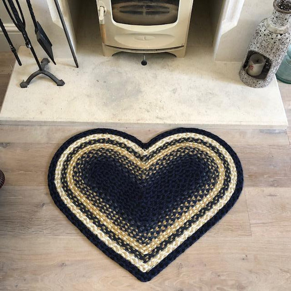 Denim Blue Jute Heart Rug#