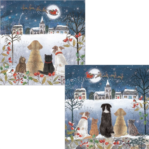 Luxury Pack of 10 Christmas Cards with Dogs and Cats