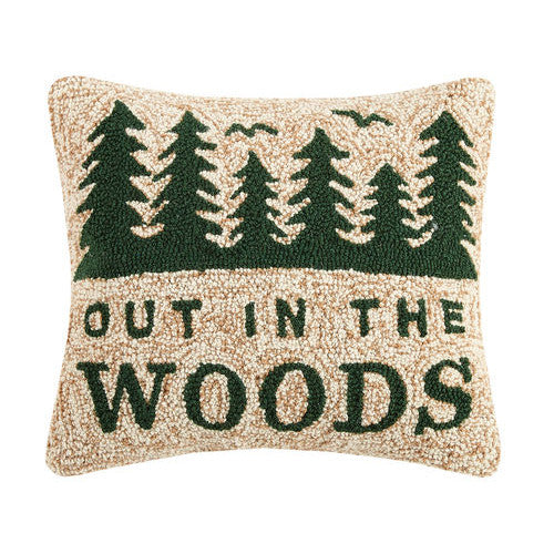 Out in the Woods Hooked Cushion