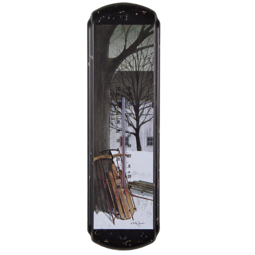 Wintry Sled Ride Thermometer