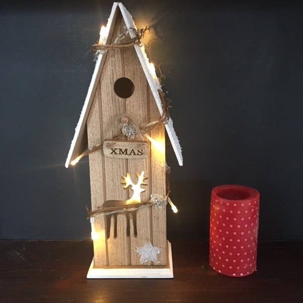 Snowy Christmas Birdhouse with LED Lights