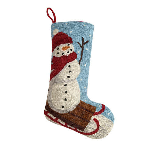 Sledding Snowman Hooked Christmas Stocking