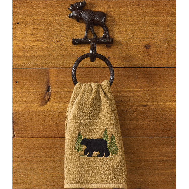 American Log Cabin Bathroom Moose Ring Towel Hook