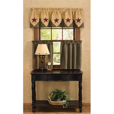 Country Star Lined Point Valance and Tiers