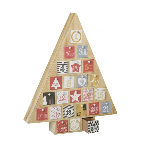 Wooden Advent Calendar Tree with Drawers