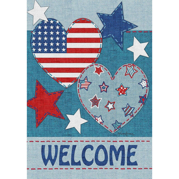 Americana Welcome Patchwork Hearts Flag UK