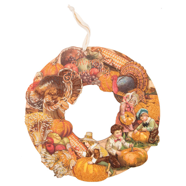 Die Cut Vintage Style Thanksgiving Wreath