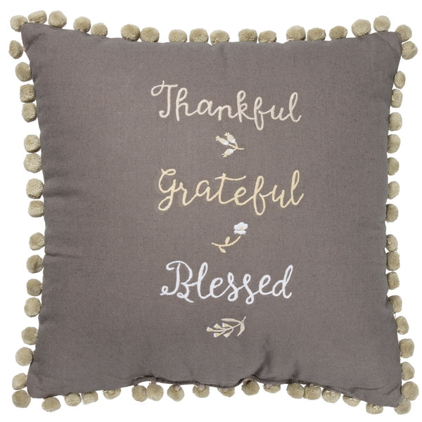 Thankful Grateful Blessed Grey Cushion