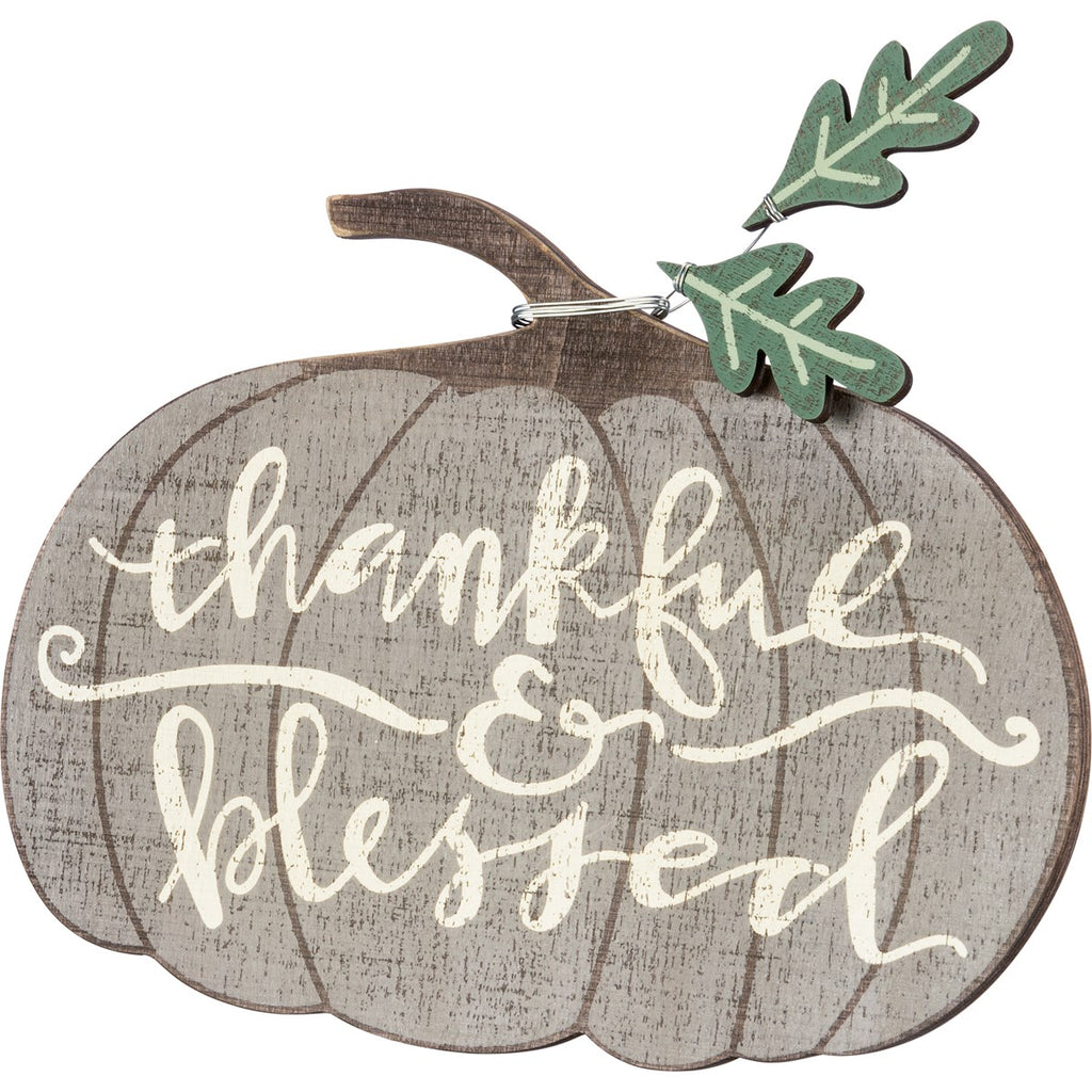 Thankful & Blessed Pumpkin Shelf Sitter