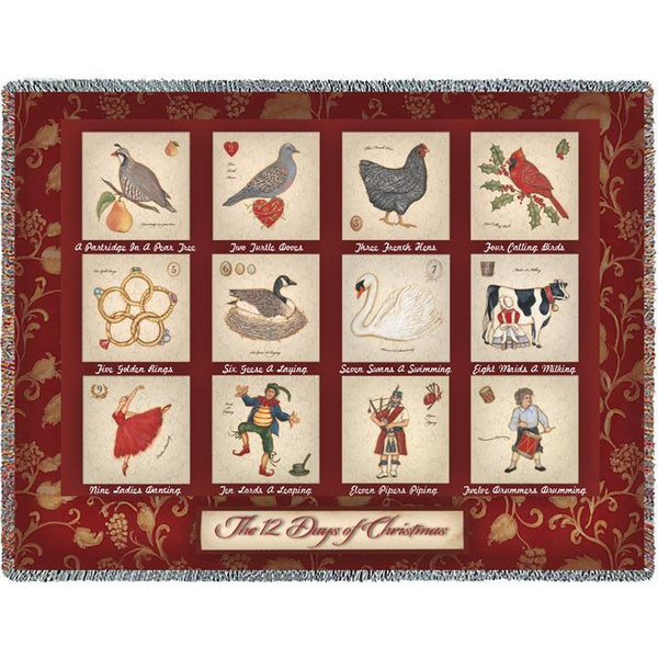 The Twelve Days of Christmas Woven Throw Blanket