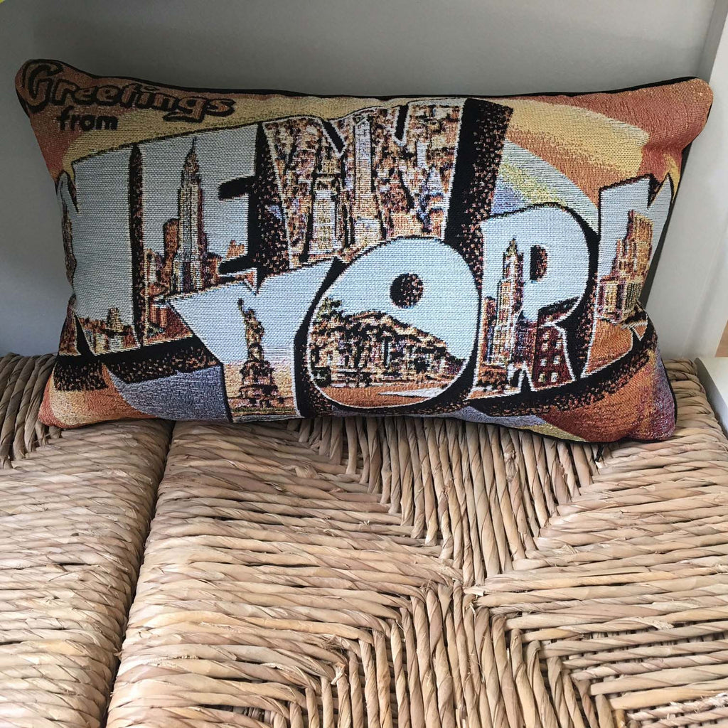 Retro Greetings from New York Pillow