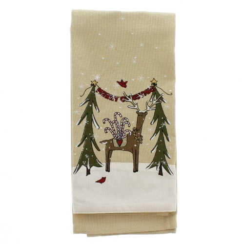 Merry Christmas Deer Applique Towel