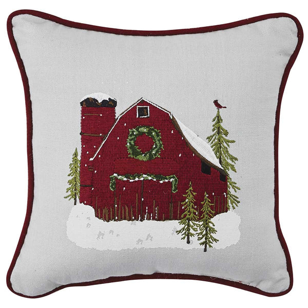 Red Barn Embroidered Christmas Cushion