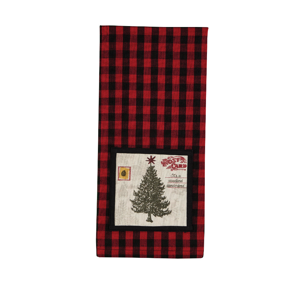 Cabin Check Towel with Christmas Tree