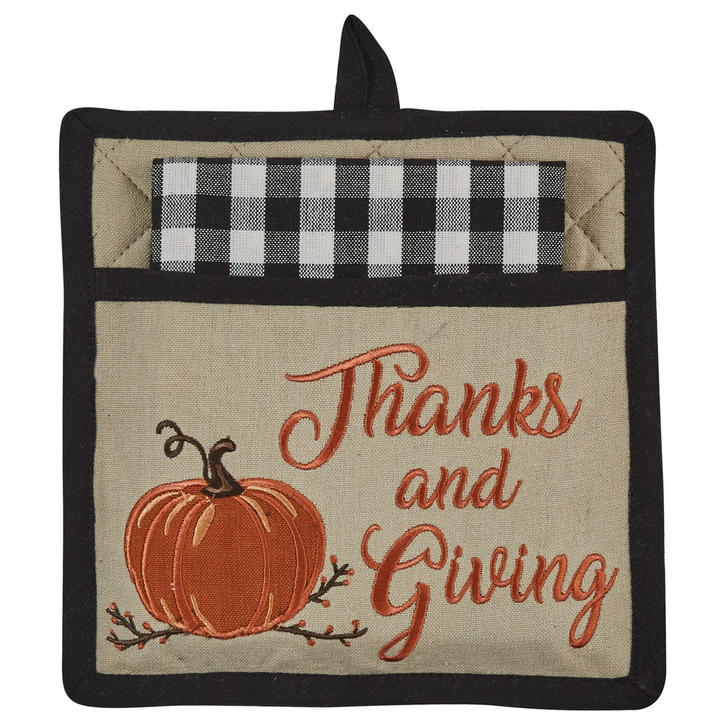 Thanks and Giving Pot Holder and Towel Set