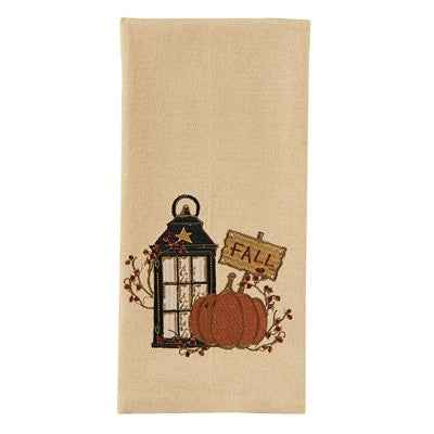 Fall Towel with Embroidered Pumpkin and Star Lantern