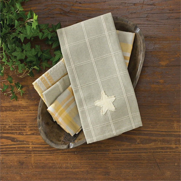 Pale Grey Check Star Towel