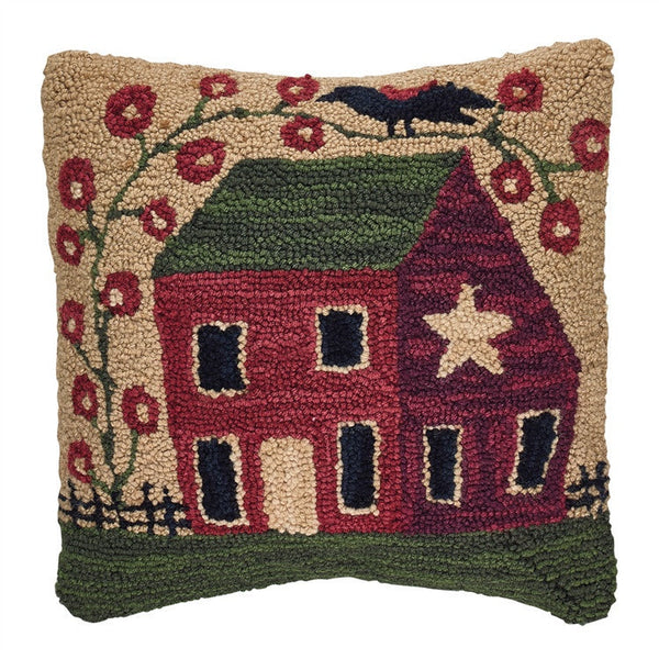 Saltbox House and Flowers Hooked Cushion