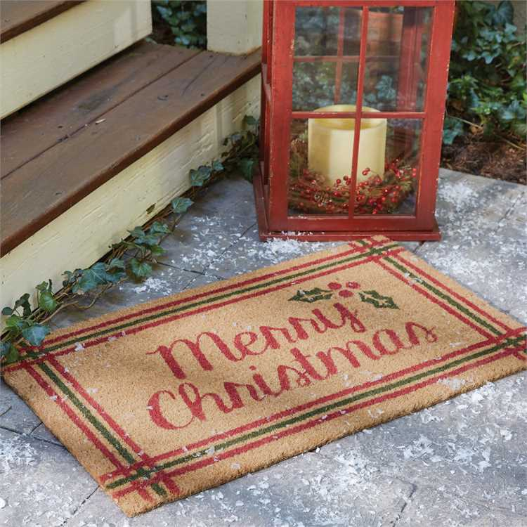 Merry Christmas Coir Doormat with Holly