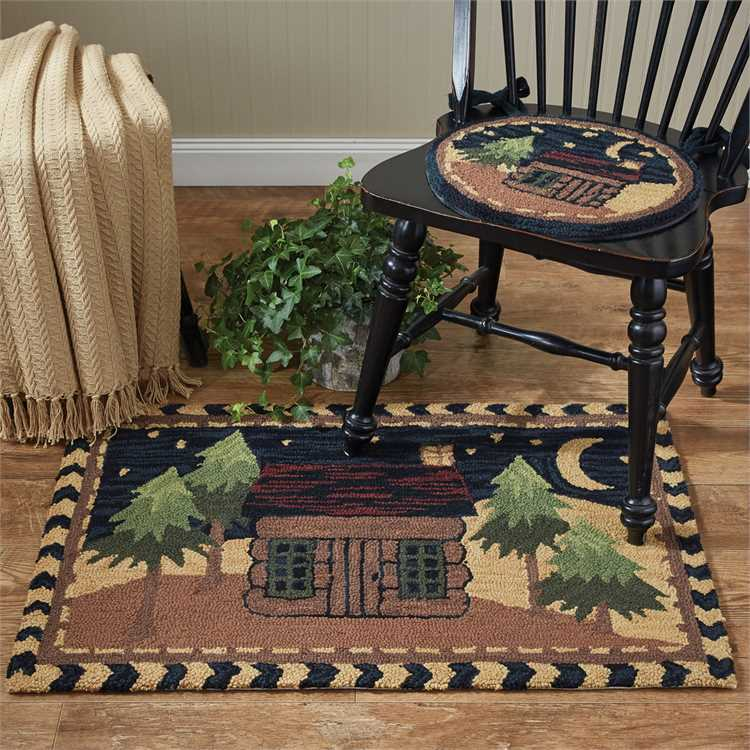 Moonlit Cabin Hooked Rug UK